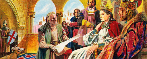Columbus presenting his plans to Queen Isabella and King Ferdinand of Spain